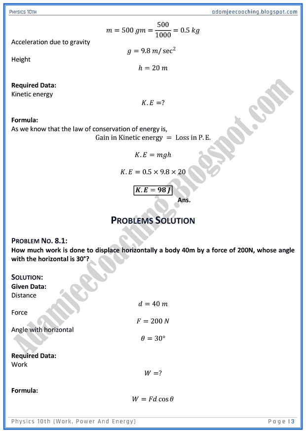 work energy and power numericals pdf