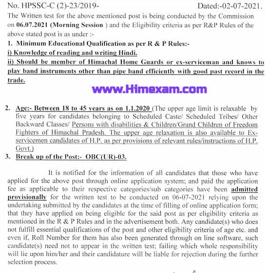 Notice for the post of Bandman - cum Cuardsman Post Code 854-HPSSC Hamirpur