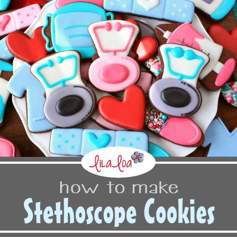 Chocolate decorated sugar cookies for medical professionals - stethoscope and scrubs cookies