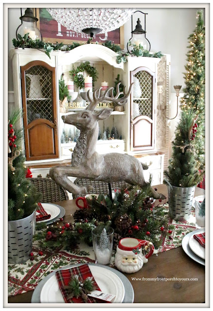 French Country Farmhouse Christmas Dining Room-Deer Centerpiece-Tablesetting-From My Front Porch To Yours