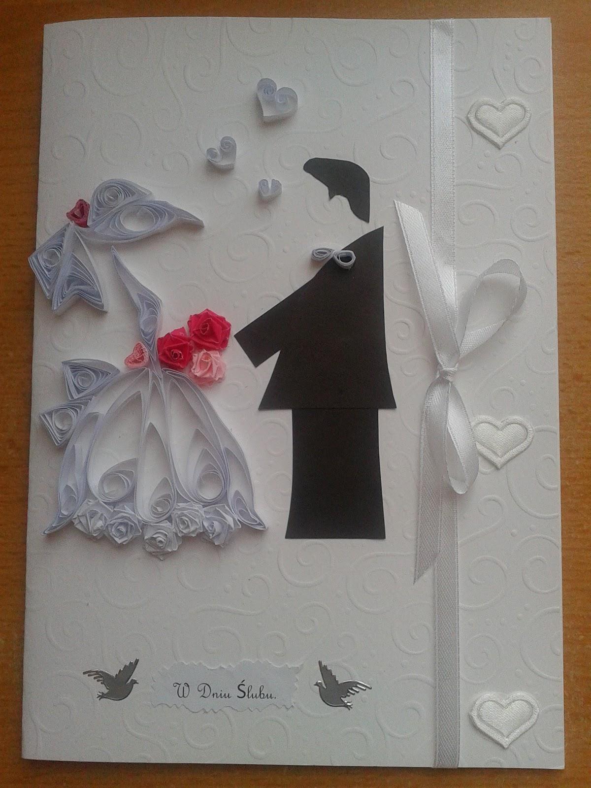 Dodatkowe Kartki ślubne ręcznie robione: Kartka ślubna - para młoda SZ92