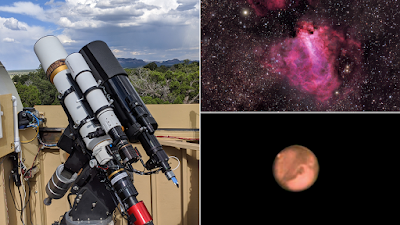 ATEO-2A and ATEO-2B with images of M17 - The Omega Nebula and Mars.