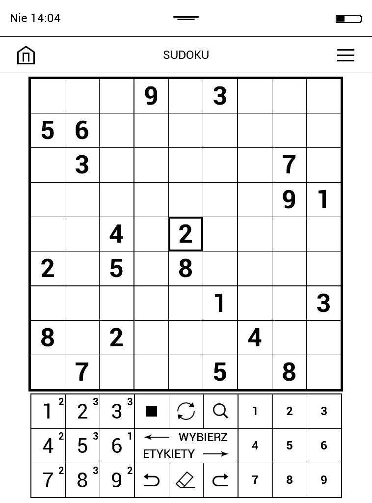 Gra Sudoku na PocketBook Aqua 2