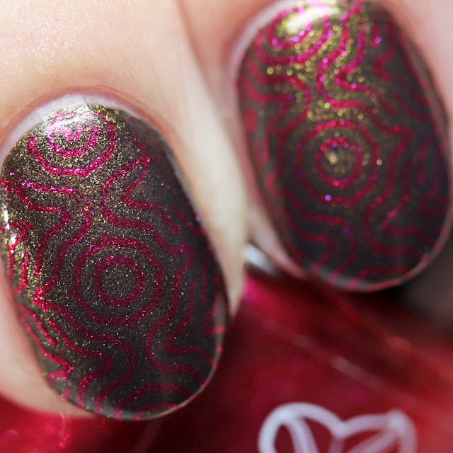Moonflower Polish Candy Apple stamped over Fall Harvest using Über Chic 22-03 plate
