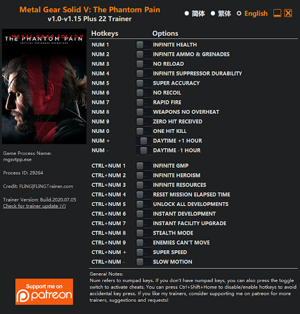 Tampilan Menu Trainer Metal Gear Solid V: The Phantom Pain PC