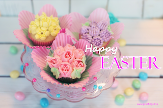 Happy Easter Eggs Flower shape cupcakes