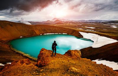 Tourist overlooking Askja calder
