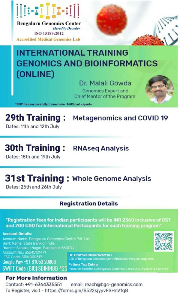 INTERNATIONAL TRAINING SERIES on GENOMICS & BIOINFORMATICS (ONLINE) | 11th–12th, 18th–19th, 25th–26th JULY 2020