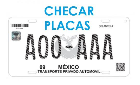 Matricula Informativa de Vehiculo con el texto Checar Placas