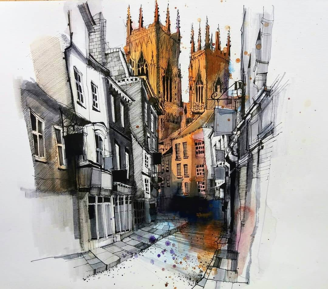 06-York-Minster-in-York-Ian-Fennelly-Urban-Sketches-Colorfully-Painted-www-designstack-co