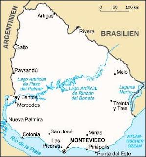 Uruguay regi térképe a Rio De La Platánál
