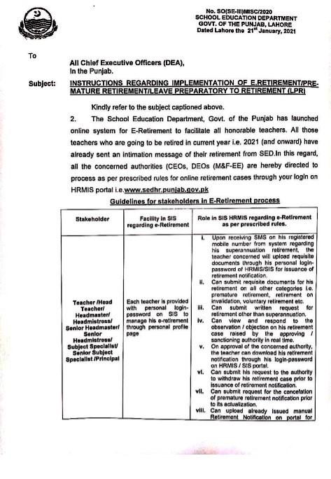 INSTRUCTIONS REGARDING IMPLEMENTATION OF E-RETIREMENT