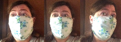 3 photos of Sherry wearing face mask