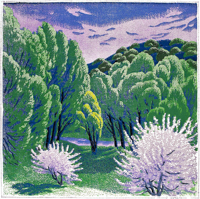 a Gustave Baumann print, green trees with a river