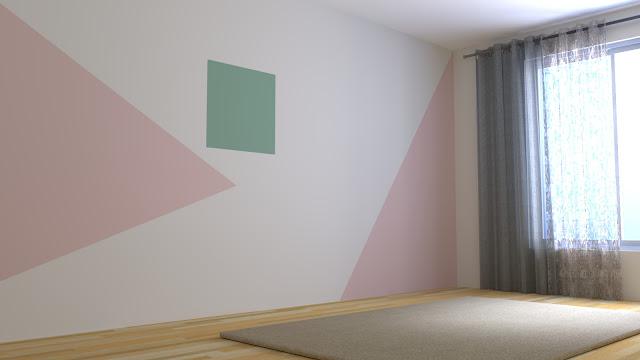 Dinding berwarna pastel dengan aksen garis dan bidang