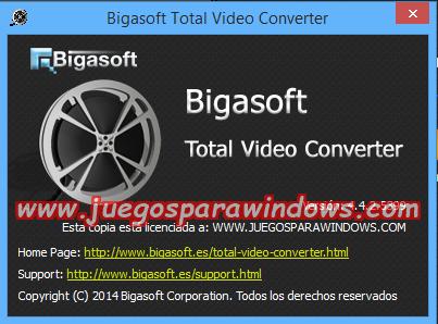 Bigasoft Total Video Converter v4.4.2.5399 Multilenguaje ESPAÑOL Convierte Archivos De Video y Audio a Otros Formatos 4