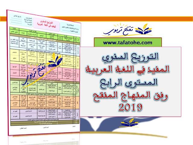 التوزيع السنوي المفيد في اللغة العربية المستوى الرابع وفق المنهاج المنقح 2019