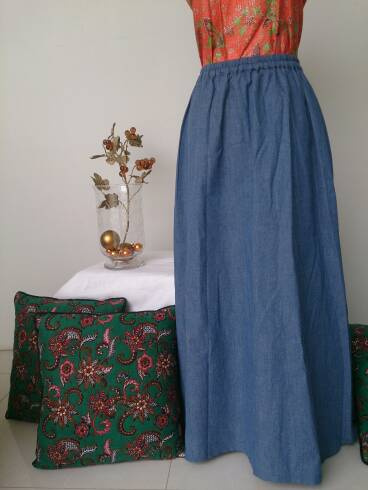 Rok Panjang Jeans Denim Wanita Gemuk Murah