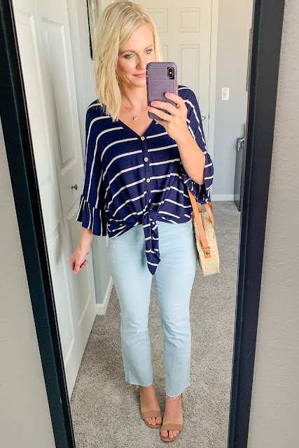 Button front striped top with cropped jeans and block sandals