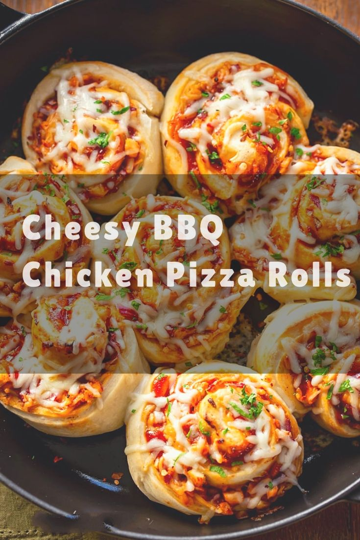 Cheesy soft rolls of pizza dough stuffed with tender chunks of chicken, sweet BBQ sauce, chopped red onion and salty bacon bits!