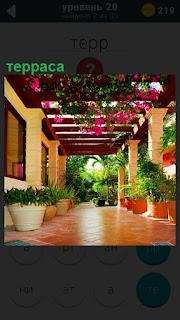 Великолепная терраса, вдоль которой установлены горшки с цветами и на потолке