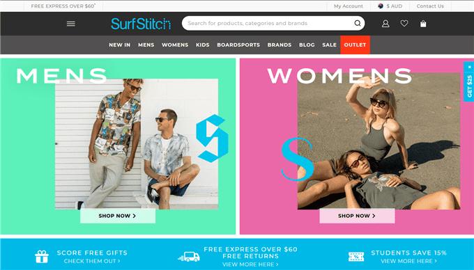 Paypal決算可能なSurfStitchの通販サイトトップページ