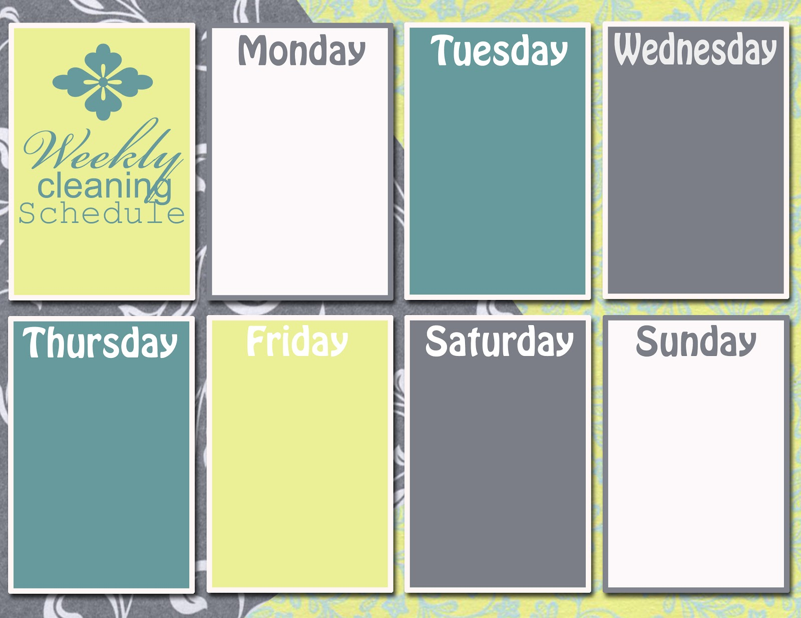 Graphic monday weekly cleaning schedule discover for Saturday to friday calendar template