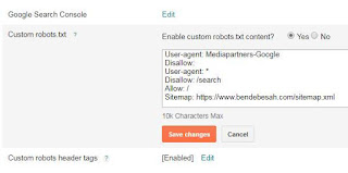 Cara Setting Custom Robot.txt