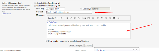 create your auto mail subject and body text