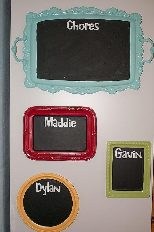 Chalkboard Painted Metal Trays
