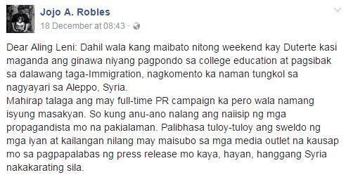 This Columnist Slams VP Robredo In An Open Letter:'Pera naman namin ang binabayad sayo, Suklian mo naman ng konting trabaho'