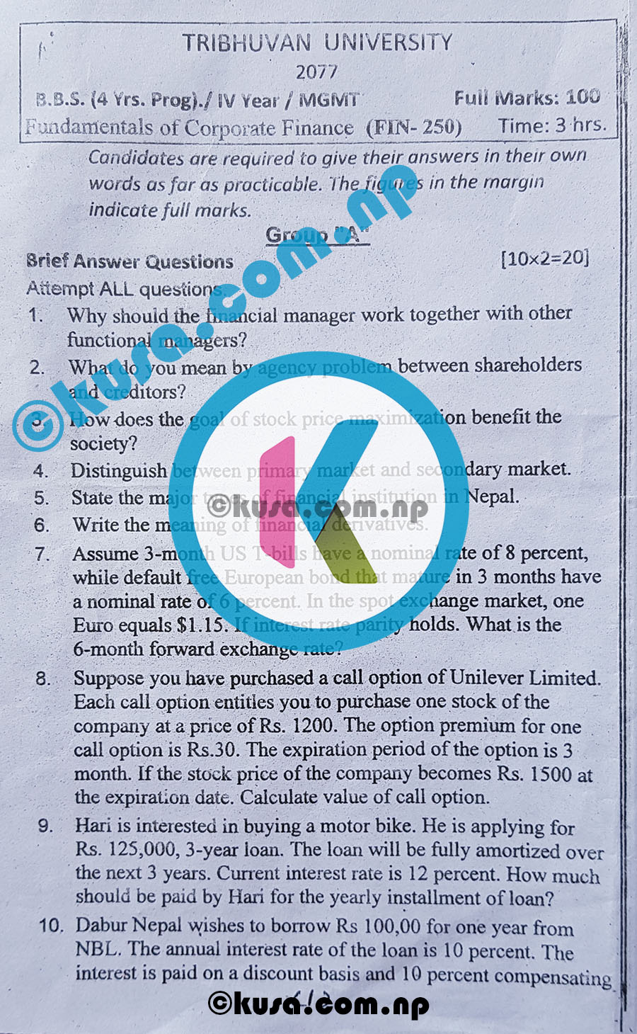 BBS-4-Years-Program-IV-Year-Fundamentals-of-Corporate-Finance-FIN-250-Question-Paper-2077-TU