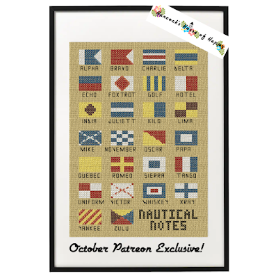 NATO phonetic alphabet in cross stitch