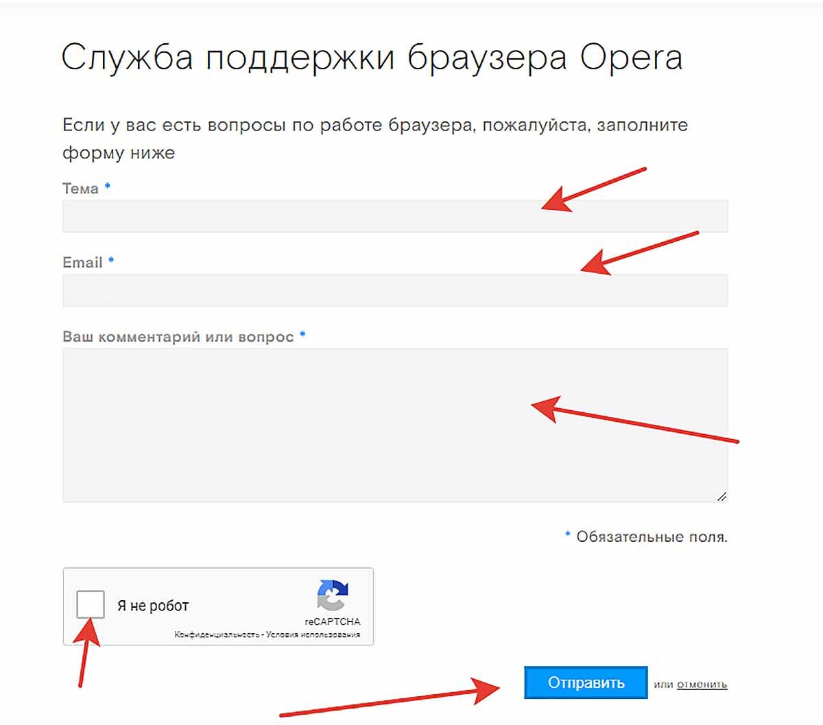 Техподдержка браузера Opera
