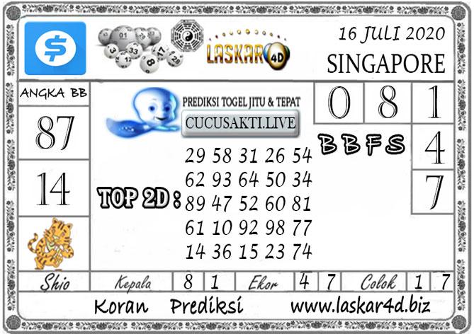Prediksi Togel SINGAPORE LASKAR4D 16 JULI 2020