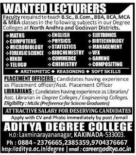 Aditya Degree Colleges lecturer jobs