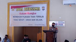 Dalam upaya mewujudkan Pilkada Tana Toraja yang aman damai dan sehat, Polres Tana Toraja mengadakan doa bersama, dengan mengundang tokoh - tokoh muslim yang ada di Kab. Tana Toraja