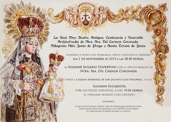 La Virgen del Carmen de San Cayetano de Córdoba visitará a la Virgen de los Dolores Coronada