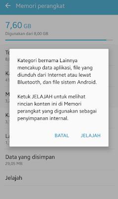 menghapus file lainnya di android samsung