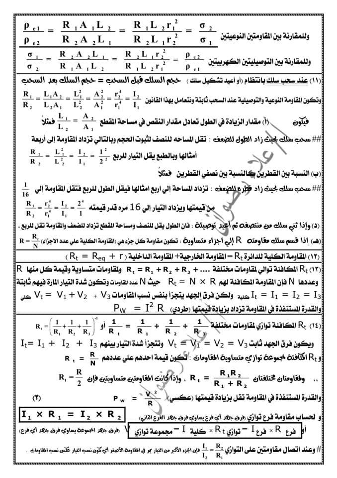 مراجعة فيزياء ثالثة ثانوي. كل القوانين بطريقة منظمة جداً كل فصل لوحده أ/ علاء رضوان 15