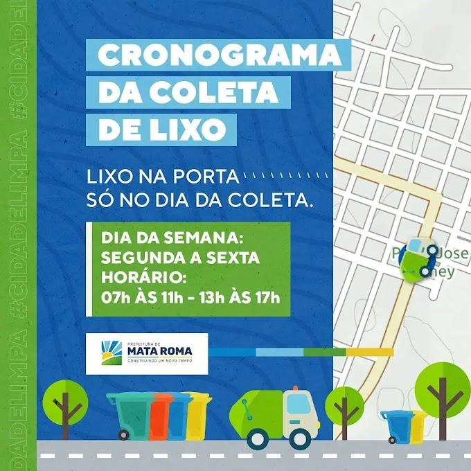 Cronograma da Coleta de Lixo na Sede de Mata Roma - MA publicado pela Prefeitura Municipal de Mata Roma - MA - Agosto 2021.
