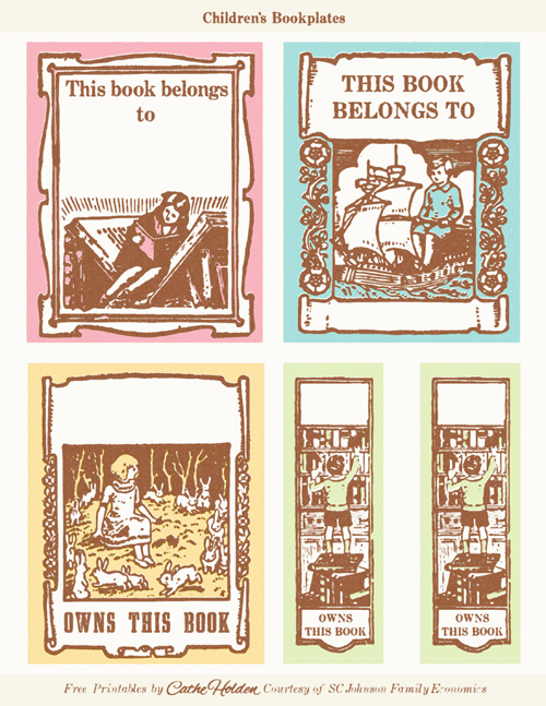 Vintage children 39 s bookplates free printable guiltless for Free printable bookplates templates