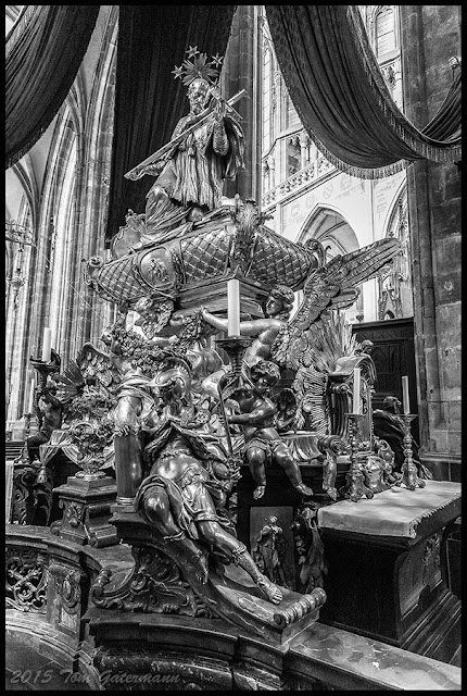 Saint John Of Nepomuk's silver tomb at St. Vitus Cathedral