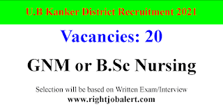 20 Staff Nurse Vacancies in Chhattisgarh