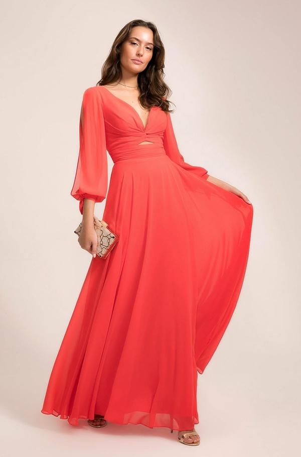 vestido longo coral para madrinha de casamento dia