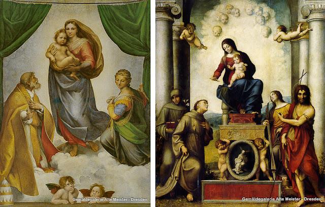 """""""Madona Sistina"""", de Rafael, e """"Madona com o Menino e São Francisco"""", de Correggio"""