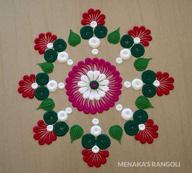 colourful simple flower rangoli