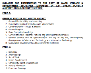 AP Ward Sachivalayam Planning & Regulation Secretary, welfare & Development secretary Govt jobs Recruitment 2019 Apply Online Exam Pattern and Syllabus