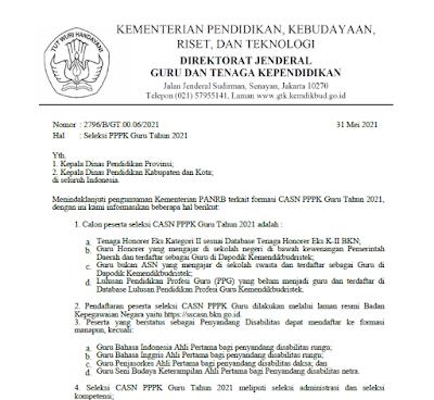 Surat Edaran Terbaru Kemedikbud terkait seleksi guru PPPK tahun 2021