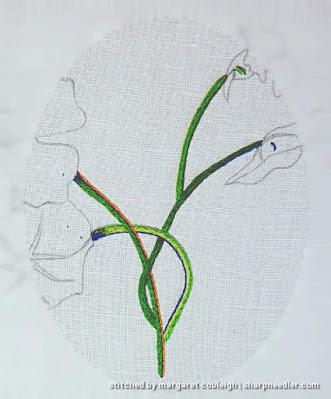 Catherine Laurencon Capucines (Inspirations): needlepainted embroidered nasturtium stems